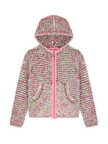 Yumi Girls Hooded Boucle Fluffy Cardigan