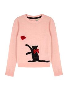Yumi Girls Cat Embellishment Jumper