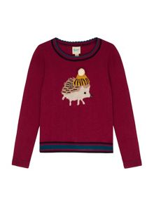 Yumi Girls Hedgehog Jumper With Pom Pom