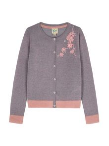 Yumi Girls Flower Embellishment Cardigan