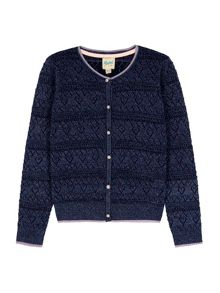 Yumi Girls Heart Pointed Lurex Cardigan