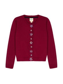 Yumi Girls Embellished Button Cardigan