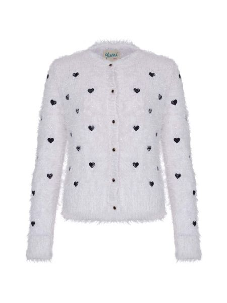 Yumi Girls Heart Embroidered Fluffy Cardigan
