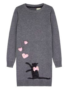 Yumi Girls Cat Embellishment Jumper Dress