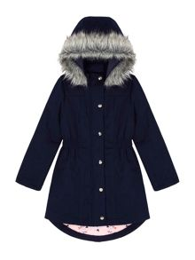 Yumi Girls Parka Coat With Butterfly Print