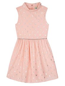 Yumi Girls Cat Print Collared Dress