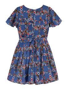 Yumi Girls Wildflower Check Print Day Dress