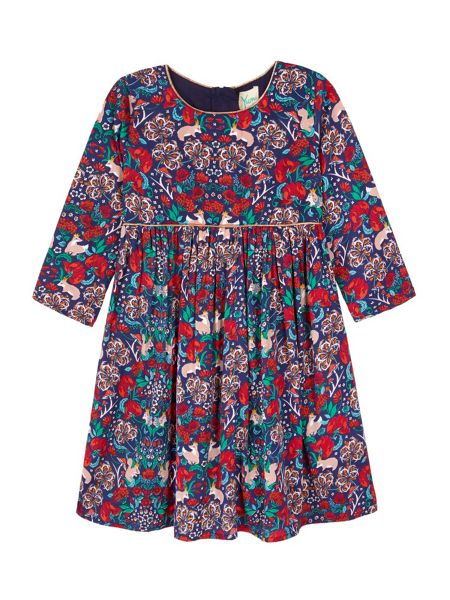 Yumi Girls Tunic Dress With Woodland Print