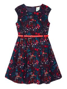 Yumi Girls Floral Print Cord Dress