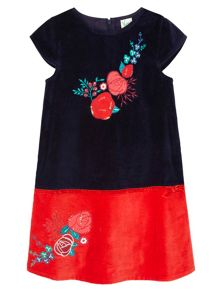 Yumi Girls Floral Embellished Velvet Shift Dress