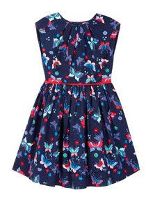 Uttam Pleated Dress With Butterfly Print