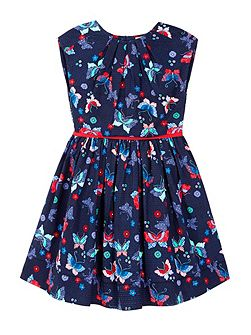 Pleated Dress With Butterfly Print