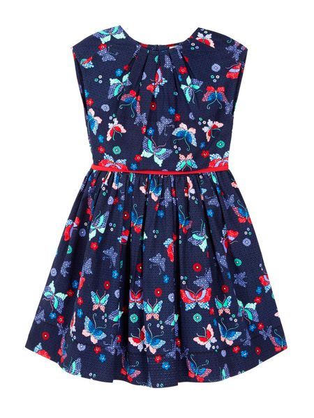 Yumi Girls Pleated Dress With Butterfly Print