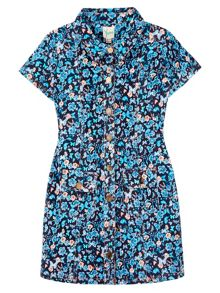 Yumi Girls Butterly Print Corduroy Shirt Dress