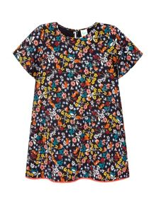 Yumi Girls Scribble Floral Print Tunic Top