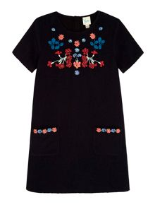 Yumi Girls Floral Embroidered Shift Dress