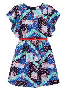 Yumi Girls Floral Printed Belt Dress