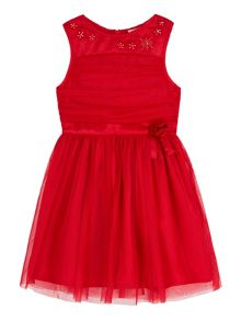 Yumi Girls Mesh Corsage Dress