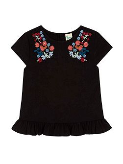 Bird and Floral Embroidered Frill Top