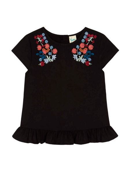 Yumi Girls Bird and Floral Embroidered Frill Top