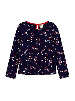 Butterfly Printed Long Sleeve Top