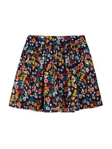 Yumi Girls Scribble Floral Print Skater Skirt