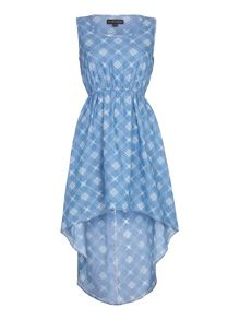 Mela Loves London Chambray Check Print High Low Dress