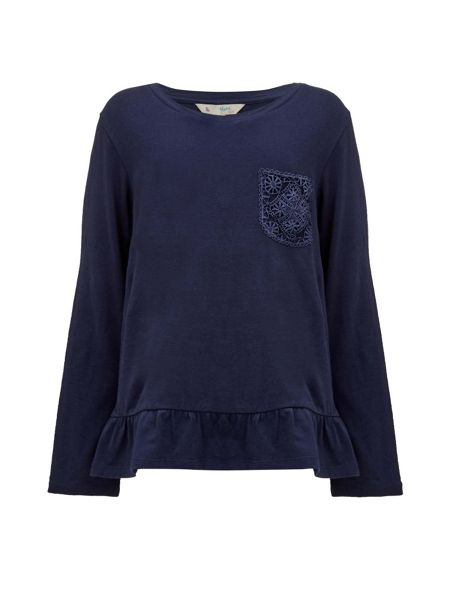 Yumi Girls Long Sleeve Top With Lace Pocket
