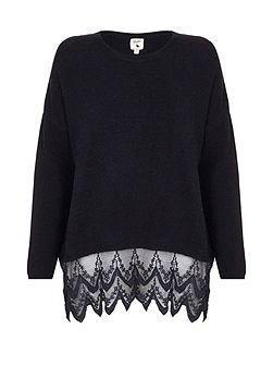 Black Knit Jumper With Lace Trim