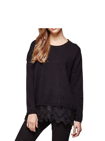 Yumi Black Knit Jumper With Lace Trim