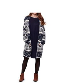 Yumi Fluffy Aztec Blue Cardigan