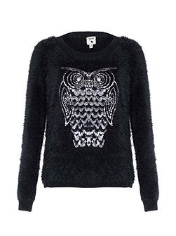 Black Fluffy Owl Sequin Jumper