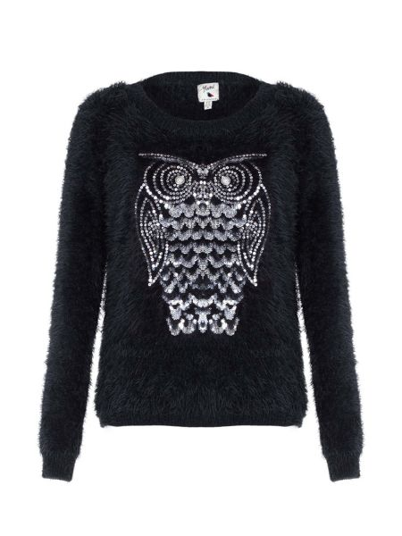 Yumi Black Fluffy Owl Sequin Jumper