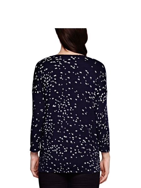 Yumi Navy Bird Printed Jumper
