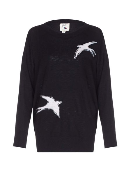 Yumi Black Sequin Embellished Bird Jumper