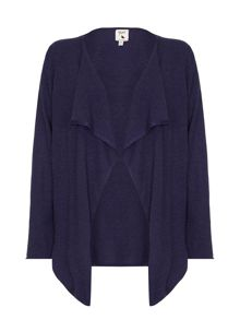 Yumi Long Navy Waterfall Neck Cardigan
