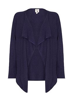 Long Navy Waterfall Neck Cardigan
