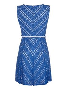 Mela Loves London ZIg Zag Lace Skater Dress with Belt incl