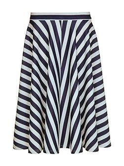 Stripe Print Scuba Skirt