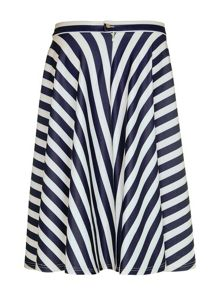 Mela Loves London Stripe Print Scuba Skirt