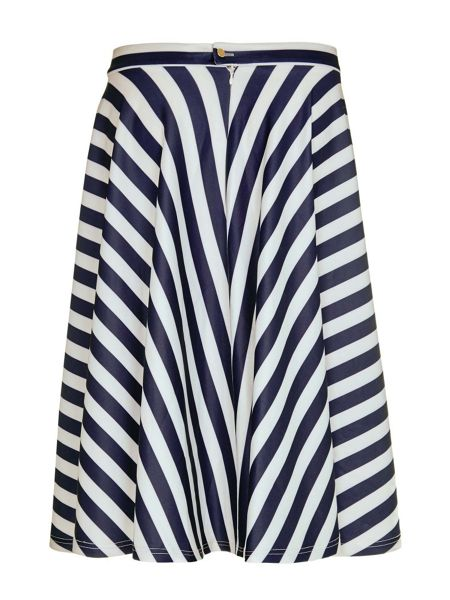 Mela London Stripe Print Scuba Skirt