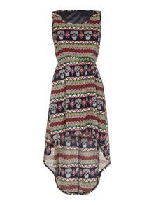 Mela London Aztec Skull Print High Low Dress