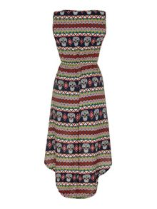 Mela Loves London Aztec Skull Print High Low Dress