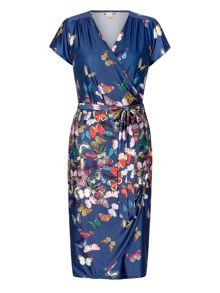 Yumi Butterfly Print Wrap Dress