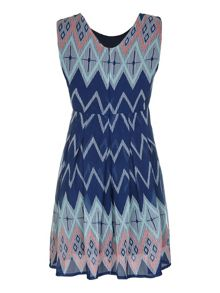 Mela Loves London Zig Zag Print Skater Dress
