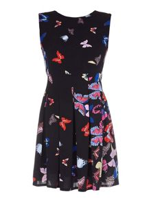 Mela Loves London Butterfly Print Skater Dress