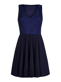Navy Sleeveless Skater Dress with Floral