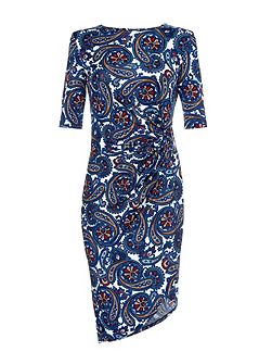 Blue Paisley Print Short Sleeve Dress