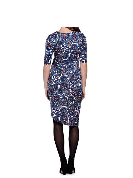 Mela London Blue Paisley Print Short Sleeve Dress