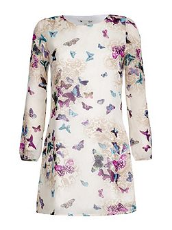 Butterfly Print Long Sleeve Shift Dress